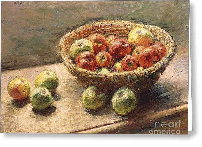 Sideboard Greeting Cards - A Bowl of Apples Greeting Card by Claude Monet