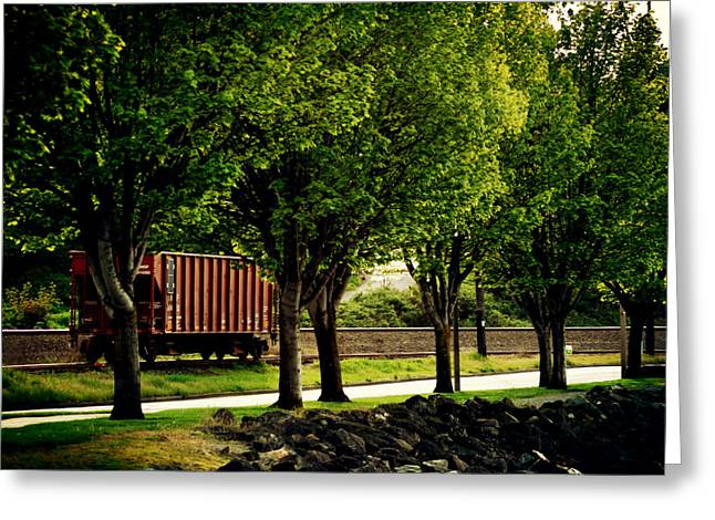 Boxcars Greeting Cards - A Boxcar Story Greeting Card by Kerry Langel