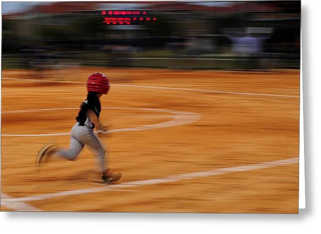 A Boy Runs During A Baseball Game Greeting Card by Raul Touzon