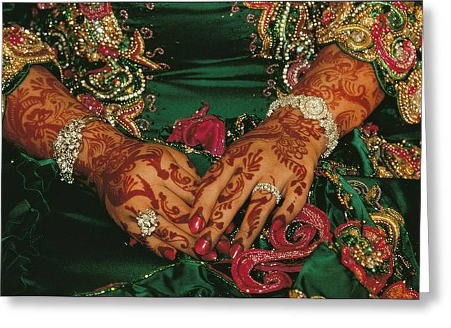 Diamond Bracelet Photographs Greeting Cards - A Brides Hands Respendent With Jewels Greeting Card by James L. Stanfield