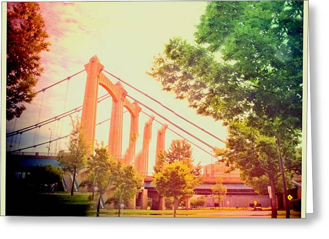 Surreal Digital Image Greeting Cards - A Bridge in Minneapolis  Greeting Card by Susan Stone