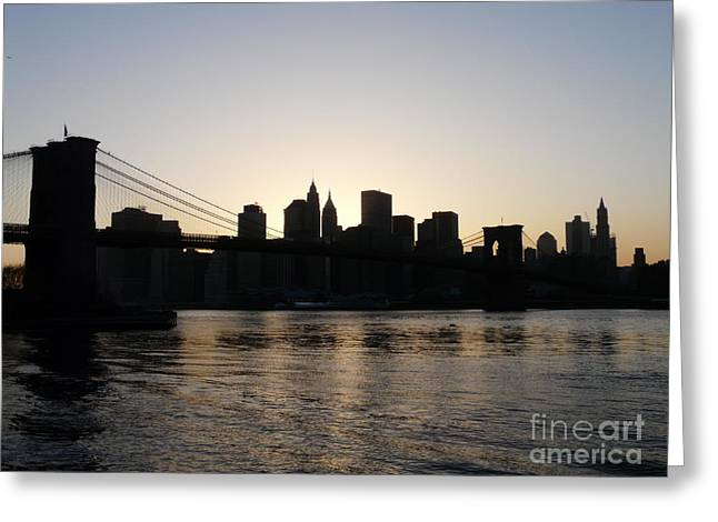 Brooklyn Greeting Cards - A Bridge Over The River Hudson Greeting Card by Kendall Eutemey