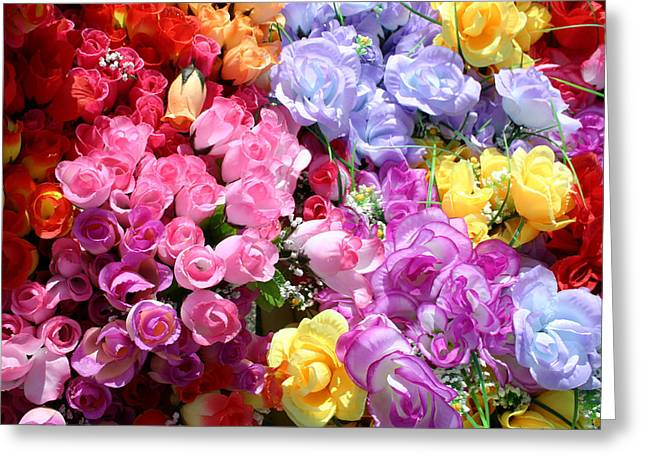 Artificial Flowers Greeting Cards - A Bright And Colorful Array Of Silk Greeting Card by Stephen St. John