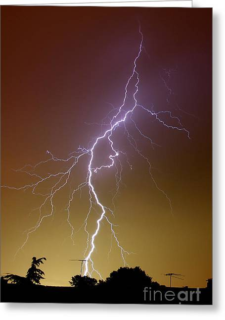 Images Lightning Greeting Cards - A Bright Bolt Of Lightning Greeting Card by Luis Argerich
