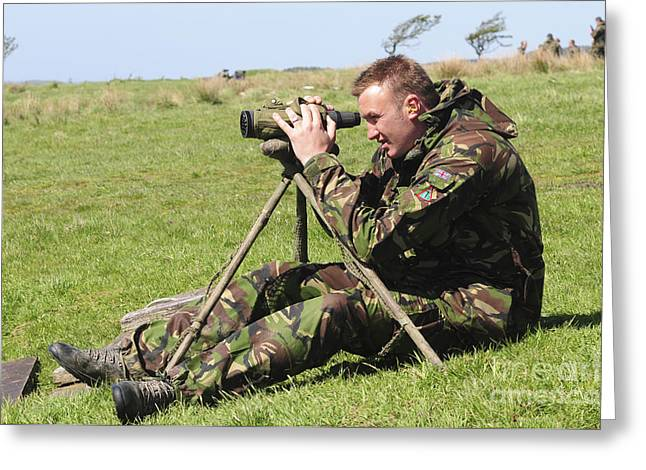 Marksman Greeting Cards - A British Army Sniper Looks Greeting Card by Andrew Chittock