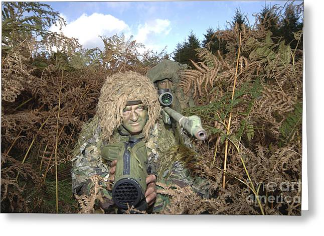 Brecon Beacons Greeting Cards - A British Army Sniper Team Dressed Greeting Card by Andrew Chittock