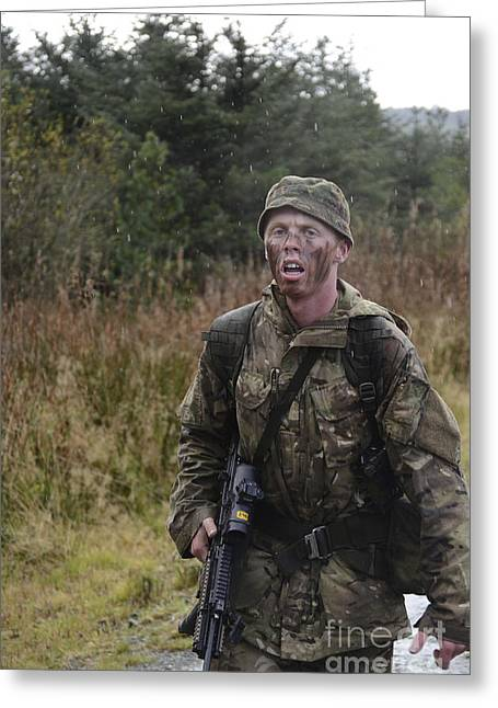 Physical Exhaustion Greeting Cards - A British Soldier During Exercise Greeting Card by Andrew Chittock