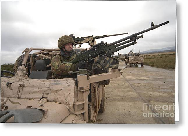 A British Soldier Mans The Gun Mount Greeting Card by Andrew Chittock