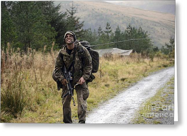 Physical Exhaustion Greeting Cards - A British Soldier With Radio Greeting Card by Andrew Chittock