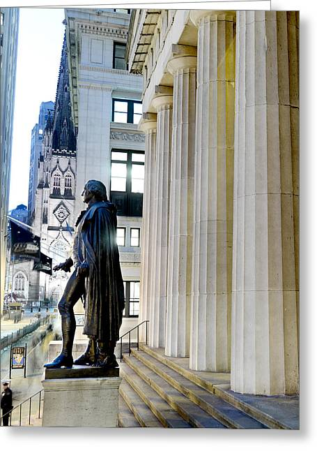 Federal Hall Greeting Cards - A Bronze George Washington Statue Greeting Card by Justin Guariglia