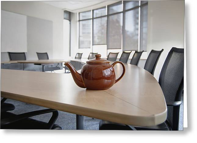 A Brown China Teapot On Boardroom Table Greeting Card by Marlene Ford