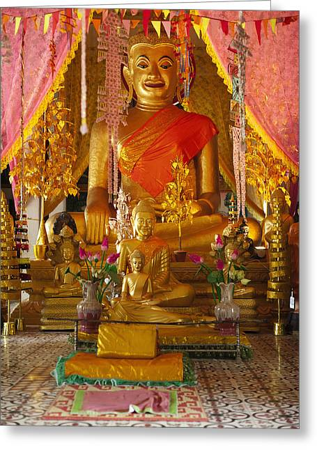 Art Product Greeting Cards - A Buddha At A Wat On The Angkor Temples Greeting Card by Roberto Westbrook