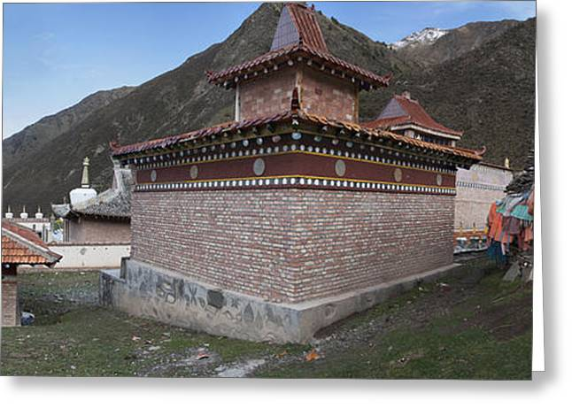 Tibetan Buddhism Greeting Cards - A Buddhist Temple Near Xeushan Township Greeting Card by Phil Borges