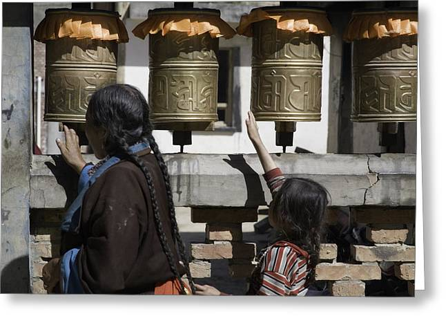 National Children Greeting Cards - A Buddhist Woman And Child Spin Brass Greeting Card by David Evans