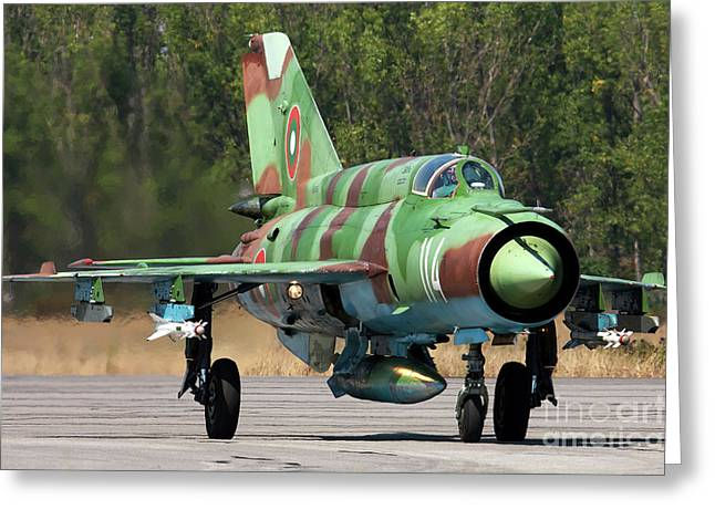 Taxiing Greeting Cards - A Bulgarian Air Force Mig-21bis Taxiing Greeting Card by Anton Balakchiev