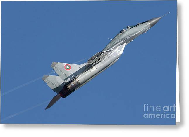 Military Airplanes Greeting Cards - A Bulgarian Air Force Mig-29 Aircraft Greeting Card by Anton Balakchiev