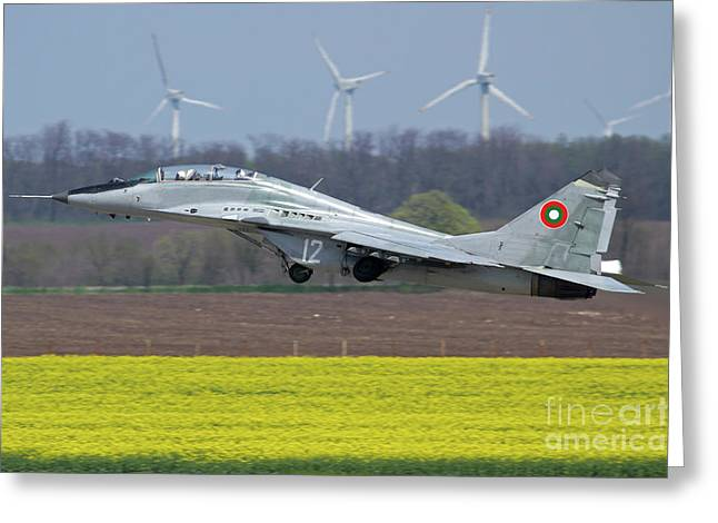 A Bulgarian Air Force Mig-29ub Aircraft Greeting Card by Anton Balakchiev