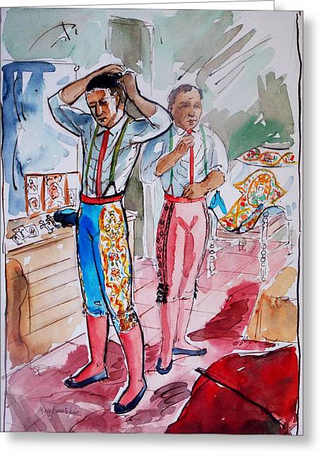 Mexican Fighters Greeting Cards - A Bullfighters Dressing Room Greeting Card by Bill Joseph  Markowski