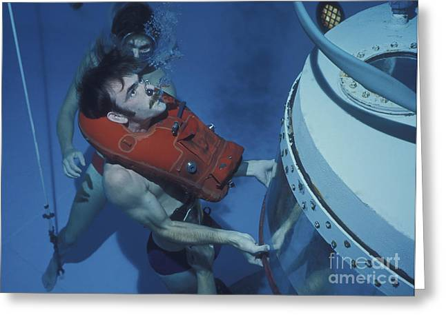 Diving Bell Greeting Cards - A Buoyant Ascent Training Student Holds Greeting Card by Michael Wood