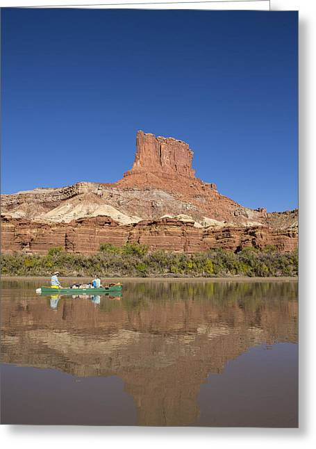 A Butte Along The Green River Greeting Card by Tim Grams