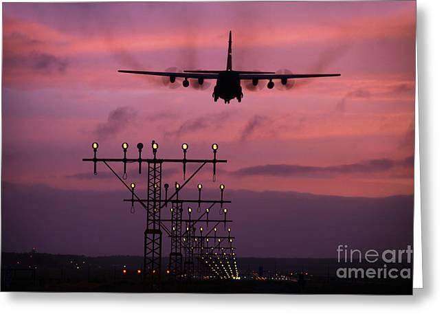 Turboprop Greeting Cards - A C-130j Super Hercules Landing Greeting Card by Timm Ziegenthaler