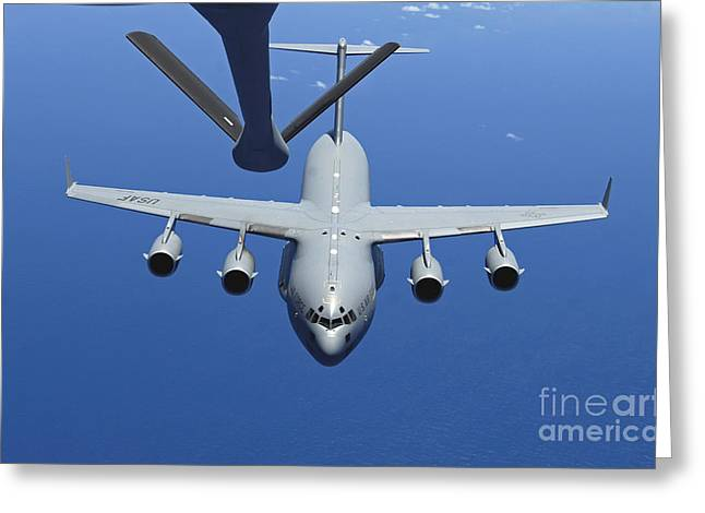 A C-17 Globemaster Iii Approaches Greeting Card by Stocktrek Images