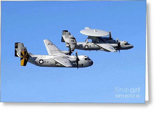 Ap Greeting Cards - A C-2a Greyhound And A E-2c Hawkeye Greeting Card by Stocktrek Images