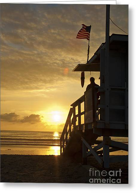 Stars And Strips Greeting Cards - A California Sunset Greeting Card by Micah May