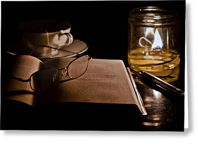 Glass Table Reflection Greeting Cards - A Candlelight Scene Greeting Card by Lori Coleman
