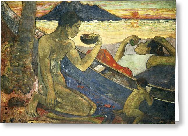 Tahiti Greeting Cards - A Canoe Greeting Card by Paul Gauguin