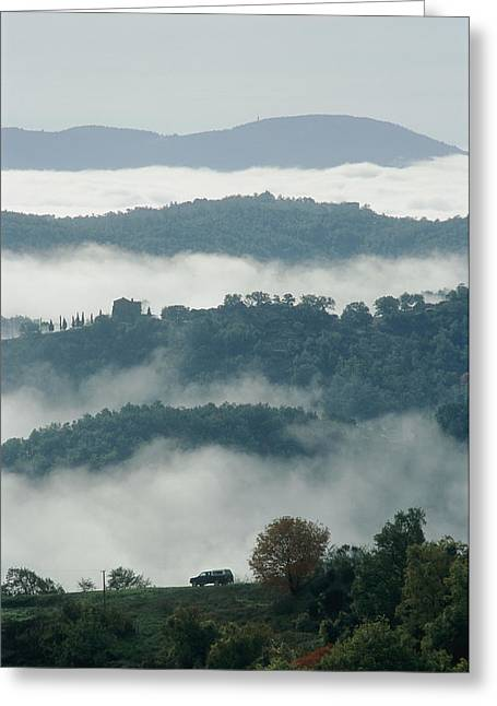 Umbria Greeting Cards - A Car Drives Through A Scenic Road That Greeting Card by Tino Soriano