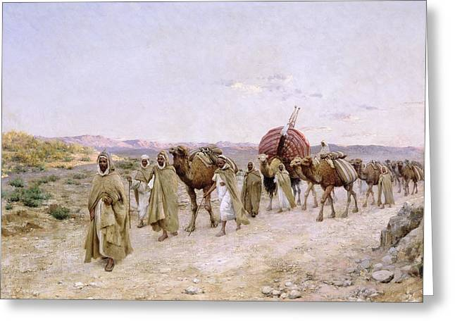 Berber Man Greeting Cards - A Caravan near Biskra Greeting Card by PJB Lazerges