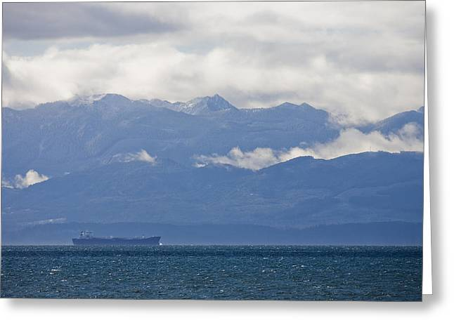 Juan De Fuca Greeting Cards - A Cargo Ship Travels In The Juan De Greeting Card by Taylor S. Kennedy