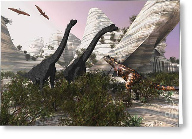 Saurischia Greeting Cards - A Carnotaurus Dinosaur Approaches Two Greeting Card by Corey Ford