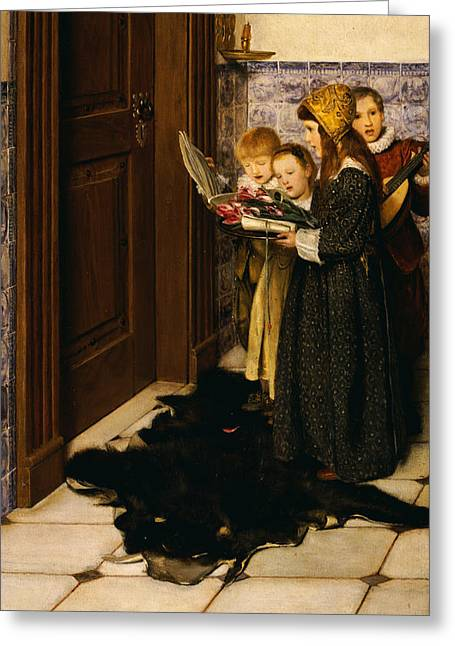 Music; Room; Interior; Female; Musician; Musicians; 19th; 20th; Harp; Harpist; Piano; Pianist; Musical Instrument; Instruments; Recital; Playing; Performing Greeting Cards - A Carol Greeting Card by Laura Theresa Alma-Tadema