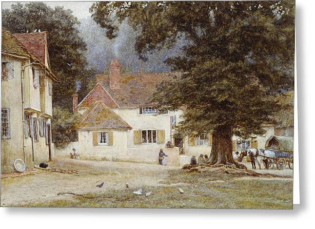Chicken Greeting Cards - A Cart by a Village Inn Greeting Card by Helen Allingham