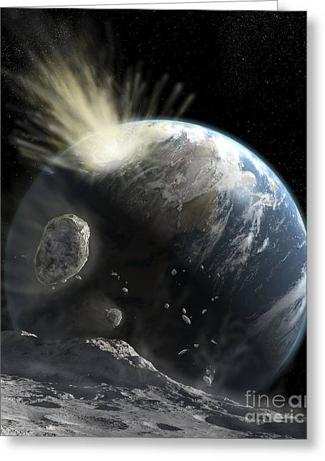 Planet Earth Greeting Cards - A Catastrophic Comet Impact On Earth Greeting Card by Steven Hobbs