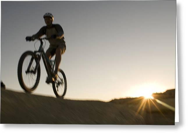 Slickrock Greeting Cards - A Caucasian Man Mountain Bikes Greeting Card by Bobby Model