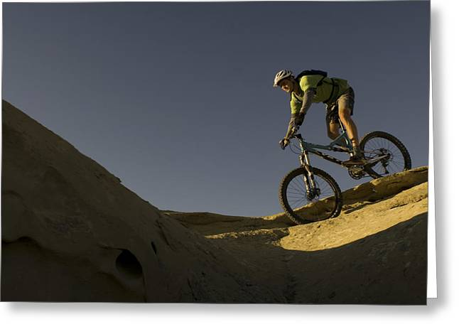 Best Sellers -  - Slickrock Greeting Cards - A Caucasian Man Mountain Biking Greeting Card by Bobby Model