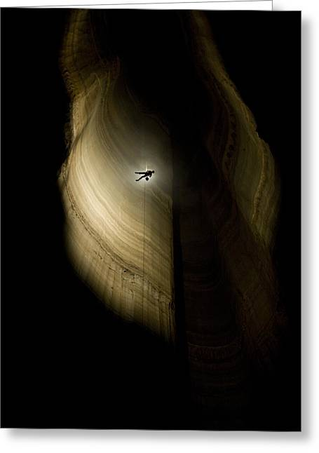 Rappel Greeting Cards - A Caver Rappels The Drop Of The Deepest Greeting Card by Stephen Alvarez