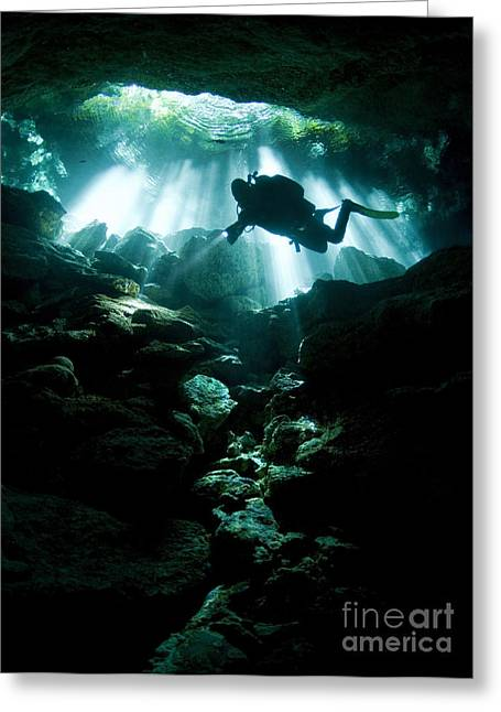 Cenote Greeting Cards - A Cavern Diver Enters The Taj Mahal Greeting Card by Karen Doody