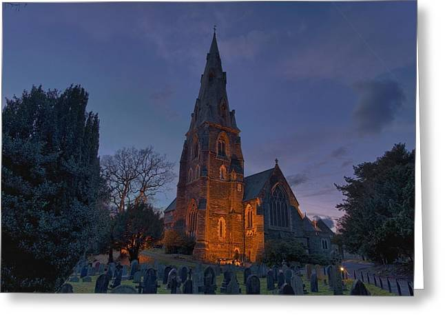 Headstones Greeting Cards - A Cemetery And Church Building Greeting Card by John Short