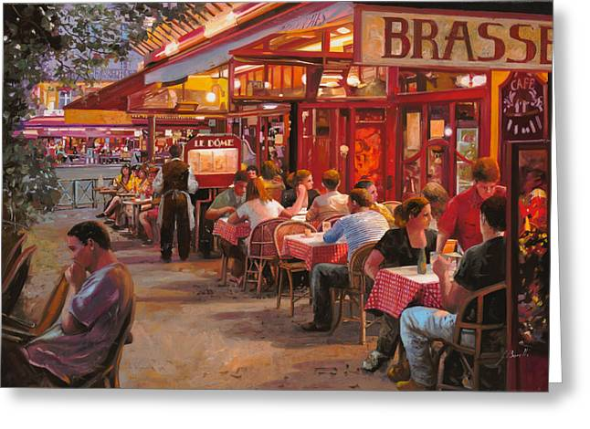 Street Scenes Paintings Greeting Cards - A Cena In Estate Greeting Card by Guido Borelli