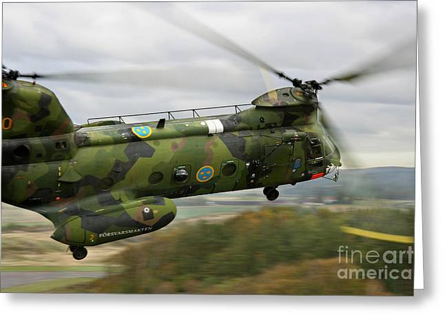 Ch-46 Greeting Cards - A Ch-46 Sea Knight Helicopter Greeting Card by Daniel Karlsson