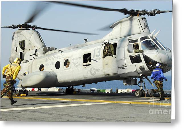 Ch-46 Greeting Cards - A Ch-46e Sea Knight Prepares Greeting Card by Stocktrek Images