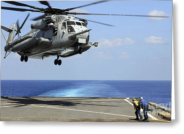 Deployment Greeting Cards - A Ch-53e Super Stallion Lifts Greeting Card by Stocktrek Images