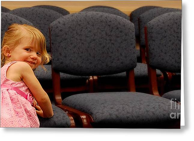 Girl In Dress Greeting Cards - A Chair For Me Greeting Card by Steven Milner