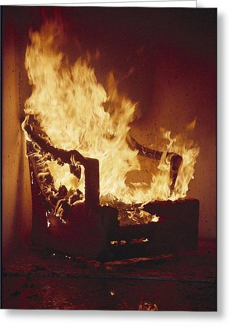 Benches And Chairs Greeting Cards - A Chair In Flames During A Flamability Greeting Card by Richard Nowitz