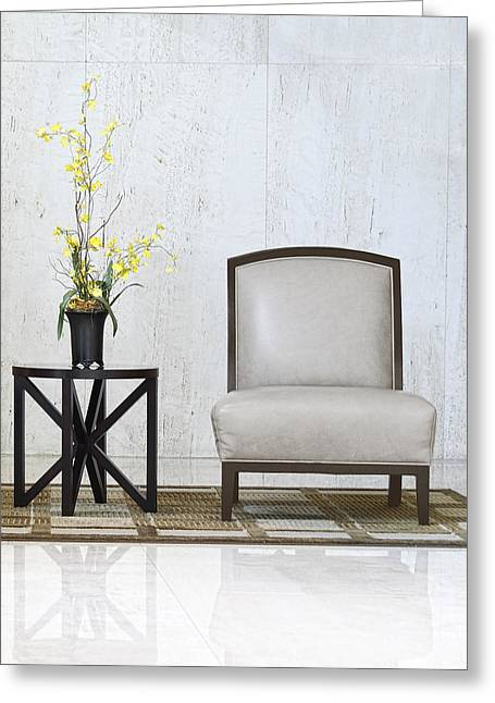Table Greeting Cards - A chair and a table with a plant  Greeting Card by Rudy Umans