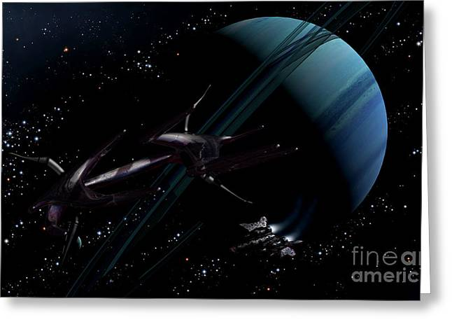 Intergalactic Greeting Cards - A Chartered Private Corvette Greeting Card by Brian Christensen